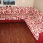 kırmızı beyaz çiçekli köşe koltuk 4